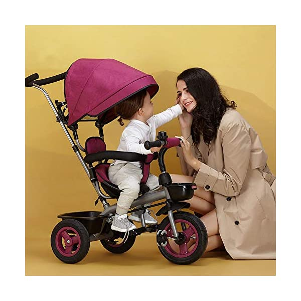 BGHKFF 4 In 1 Childrens Tricycles 6 Months To 5 Years Blockable Rear Wheels Kids Tricycle Folding Sun Canopy Adjustable Handle Bar Child Trike Maximum Weight 25 Kg,Purple BGHKFF ★Material: Steel frame, suitable for children from 6 months to 5 years old, the maximum weight is 25 kg ★ 4-in-1 multi-function: convertible into stroller and tricycle. Remove the hand putter and awning, and the guardrail as a tricycle. ★Safety design: Golden triangle structure, safe and stable, front wheel clutch, will not hit the baby's foot; 2 point seat belt + guardrail; rear wheel double brake 1