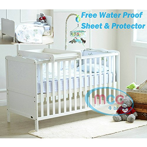 MCC Florida Wooden Baby Cot bed Cotbed Toddler Bed & Premier Water repellent Mattress Made in England (140x70) (Top Changer)
