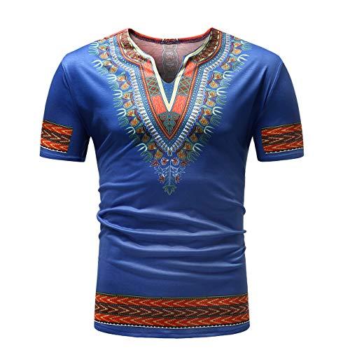 Herren Kurzschläfer Ethnische Afrikanische Stil Floral Gedruckt Freizeit und Mode T Shirt(XL,blau)