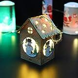 Gaddrt Weihnachten Holzhaus LED-Licht Holzpuppen Haus Villa Weihnachtsschmuck Weihnachtsbaum hängende Dekor (B)