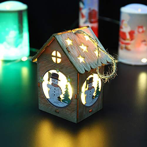 Gaddrt Weihnachten Holzhaus LED-Licht Holzpuppen Haus Villa Weihnachtsschmuck -