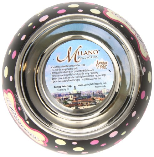 Polkadot Milano Bowl For Dogs And Cats - Veterinarian Recommended Stainless Steel Feeding Bowl - The Rubber Base Helps… 3