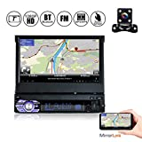 YUGUIYUN 1 Din Autoradio Bluetooth MP5-Player, 7 Zoll 1080P HD Ausfahrbar Touchscreen, Mirrorlink Freisprechfunktion FM USB TF AUX + Rückfahrkamera 9601