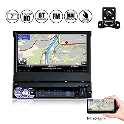YUGUIYUN-1-Din-Autoradio-Bluetooth-MP5-Player-7-Zoll-1080P-HD-Ausfahrbar-Touchscreen-Mirrorlink-Freisprechfunktion-FM-USB-TF-AUX-Rckfahrkamera-9601