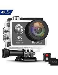 Bagotte 4K Action Cam Wi-Fi 16MP Impermeabile 30M Immersione Subacquea 30fps Action Camera con Schermo 2 Pollici 170°Grandangolare Camera con 2 Batterie,Telecomando 2.4G e Kit di Accessori