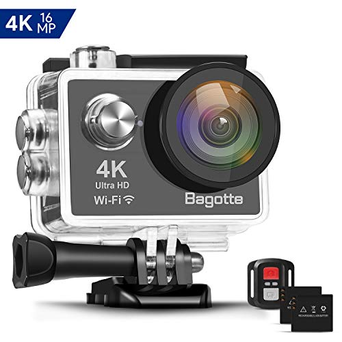 Bagotte 4K Action Cam Wi-Fi 16MP Impermeabile 30M Immersione Subacquea 30fps Action Camera con Schermo 2 Pollici 170°Grandangolare Camera con 2 Batterie,Telecomando 2.4G e Kit di Accessori