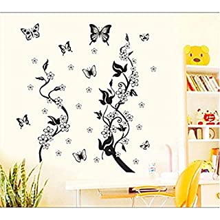 Black Tree Black Butterfly with White Flowers Home Removable Recycling Wall Sticker