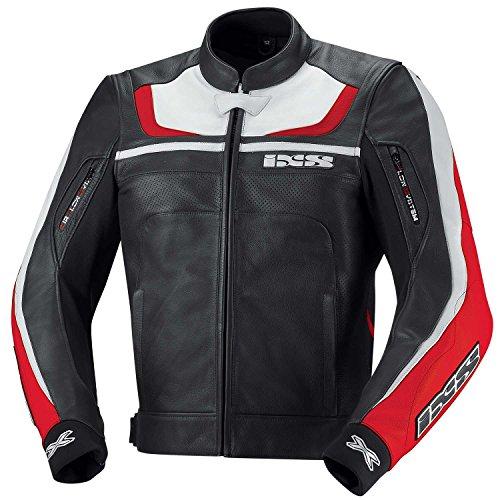 IXS Shertan Motorrad Lederjacke, Farbe schwarz-rot-Weiss, Größe 50