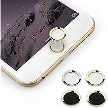 BUTEFO Botón Inicio Pegatina del metal-aluminio Inicio Botón Teclado Teclado Pegatina caso de la piel para el iPhone 5s iphone 6 iphone 6 más (anillo de oro blanco Button)