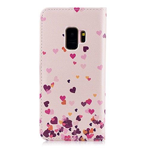 Surakey Coque Galaxy S9 PU Etui Housse en Cuir Portefeuille,Imprimé Coloré Motif Étui Housse à Rabat Coque Protection Flip Case Wallet Coque Samsung Galaxy S9 (Coeur D'amour)