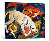 kunst für alle Leinwandbild: Franz Marc DREI Tiere Hund Fuchs und Katze - hochwertiger Druck, Leinwand auf Keilrahmen, Bild fertig zum Aufhängen, 100x75 cm