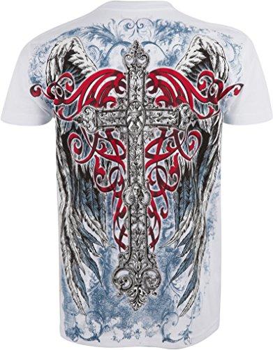 Sakkas angelo cinque goffrato metallizzato t-shirt mens moda. Bianco