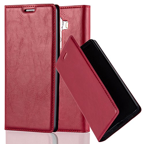 Cadorabo Hülle für LG G4 - Hülle in Apfel ROT – Handyhülle mit Magnetverschluss, Standfunktion und Kartenfach - Case Cover Schutzhülle Etui Tasche Book Klapp Style