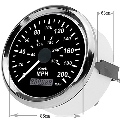 """GOGOLO 3.3"""" Universal GPS Digital Dual Geschwindigkeitsmesser & Kilometerzähler Modell Uhr 0-200MPH 0-300 KM / H Edelstahl wasserdicht Analog Messgerät für 12V / 24V Fahrzeug Boot"""