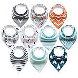 10er Baby Dreieckstuch Lätzchen Spucktuch Halstücher mit Verstellbaren Druckknöpfen Multifunctional, Super Absorbent & Soft Baumwoll, Jungen, von ARKFU