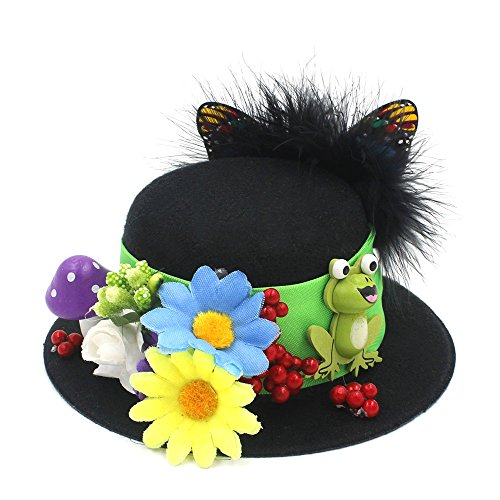 ZHLL- Mützen 100% Handwork Schwarz Mini Top Hat Handwerk Machen Partei Fascinator Alligator Clips Mode DIY Kopfbedeckungen (Farbe : Schwarz, Größe : Average) (Machen Mini Top Hat)