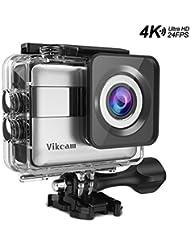 VIKCAM 4K Action Kamera 20MP FHD Actioncam WiFi 2.31 Zoll LCD Touchscreen Wasserdichte Kamera Ultra 170° Weitwinkel mit wasserfestem Gehäuse und Zubehör Kit-Silber