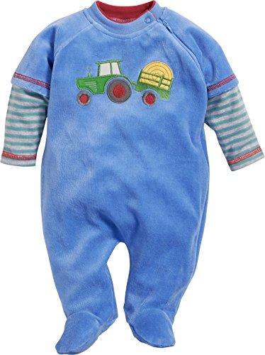 Schnizler Baby-Jungen Schlafoverall Nicki Traktor Schlafstrampler, Blau (Blau 7), 62