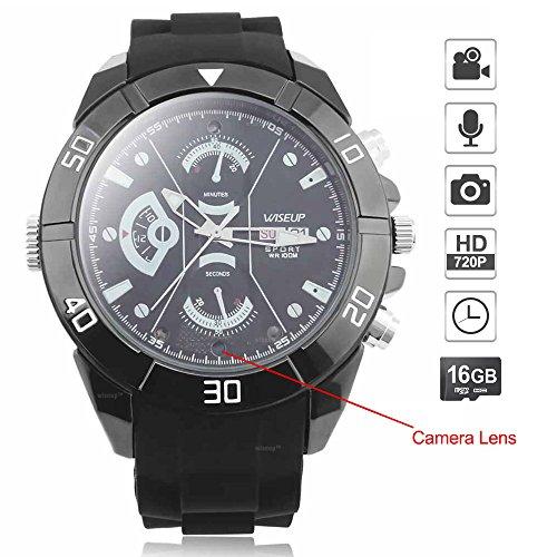 WISEUP 16GB 1280x720P HD Spycam Armbanduhr Tragbare Versteckt Kamera Uhr Mini Videorecorder mit SD Karte Aufzeichnung Armbanduhr Video
