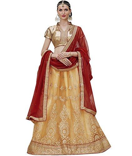 Indian Ethnicwear Bollywood Pakistani Wedding Beige A-Line Lehenga Semi-stitched