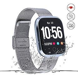 Monitor de Actividad,Reloj Inteligente de Fitness,Pantalla HD,Monitor de Actividad con podómetro/frecuencia cardíaca y Alarma NS/Mapa de Running GPS,para Hombres y Mujeres,iOS Android (Plata)