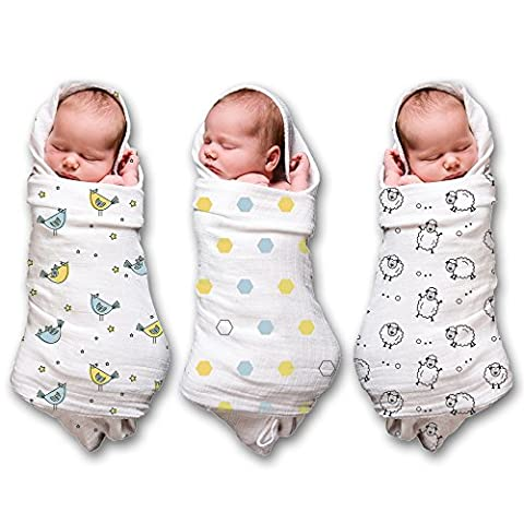 "Muslin Swaddle Blankets for a Baby Boy & Girl (3 Pack) 100% Cotton, Large 47x47"" (3 Pack-Sheep, Birdy,"