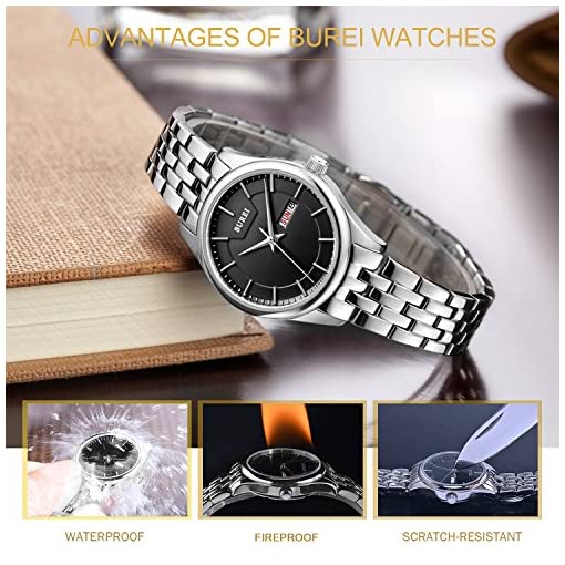 BUREI Women's Day and Date Calendar Precise Quartz Watch Wristwatch with Stainless Steel Bracelet