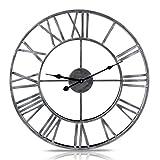 LVPY Wanduhr Retro, Lautlos Wanduhr aus Metall Vintage Wanddeko Designer Uhr für Wohnzimmer Schlafzimmer, 50 cm Ø