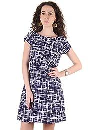 63ee53bfe8ec Ruhaan s Women s Crepe Navy Color Zig-zac Printed Knee Length Dress  (RU 5143)