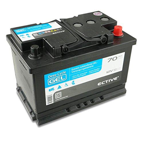 ECTIVE EDC-Serie | 12V 70Ah Gel Batterie | 6 Varianten: 70 - 250Ah | Versorgerbatterie Solarbatterie Gelbatterie wartungsfrei | Wartungsfreier Solar Akku für Wohnwagen USV Boot und Wohnmobil