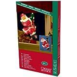 """Konstsmide 2856-000 Fensterbild """"Kletternder Weihnachtsmann"""" / für Innen (IP20) /  230V Innen / 20 klare Birnen / weißes Kabel"""