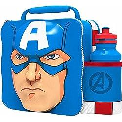 Boyz Toys Marvel Capitán América 3d bolsa para el almuerzo térmica con botella de deporte