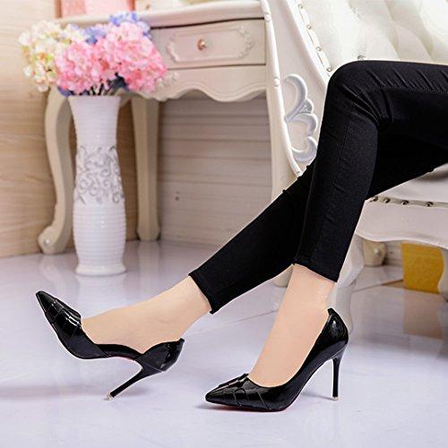 Ol Do Das Bombas Sapatos Anti Da Escritório Moda slide Pé Apontado Deslizamento Preto Verniz Dedo Senhoras De Sapatos Trabalho Simples Nas De BqPdTSwXxS