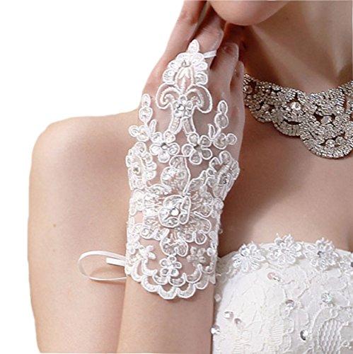 Brauthandschuhe fingerlos Braut Handschuhe Strass Steinchen Hochzeit Weiß Ivory (Ivory) (Weiß)