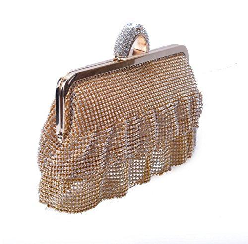 POKWAI POKWAI Tassel Diamanten Abend Party Dinner Taschen Clutch Handtasche Geldbörse Silver