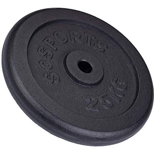 ScSPORTS 25 kg Hantelscheibe Guss, Gewicht für Lang- und Kurzhantel-Stangen, 30/31 mm Bohrung