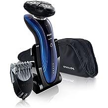 Philips SHAVER Series 7000 SensoTouch RQ1187/16 Máquina de afeitar de rotación Negro, Azul - Afeitadora (Máquina de afeitar de rotación, SkinGlide, RQ11, Negro, Azul, LED, Batería)