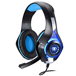 BlueFire Upgraded 3.5mm Universal LED Light Gaming Headset Bass Stereo Over-ear Headphone with Microphone for PS4/Xbox One S/Xbox One/Nintendo Switch/PC/Computer/Phones (Blue in Black)