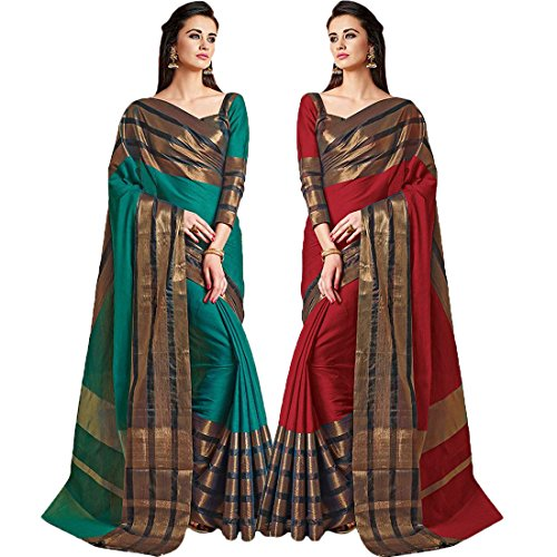 Pramukh Suppliers Women's Cotton Silk Multicolor Combo Saree With Blouse Piece (AU_MB-AU_R...