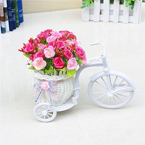 SODIAL Nostalgico Decoracion de flores artificiales de bicicleta Soporte de planta (Rosa + Blanco)