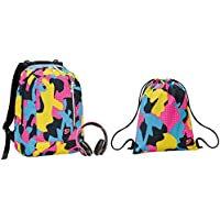 35ae276d63 Zaino SEVEN THE DOUBLE + Soft Bag - COLOR CAMOUFLAGE - Rosa Giallo Azzurro  - cuffie