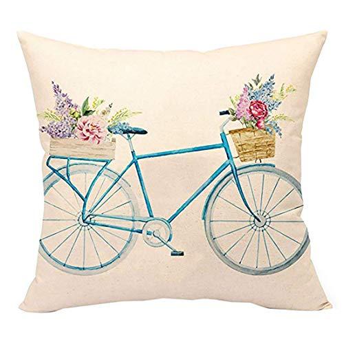 Carry stone Blaue Fahrrad Wurfkissenbezug Vintage Home Dekorative Kissen Fall 18X18 Zoll Leinen Für Sofa (Retro Blume) Nützliche Stoff Kissenbezug -