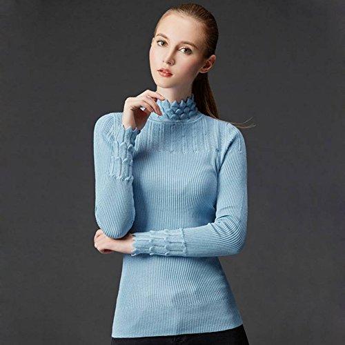 Good dress Damen Pullover Sets von Semi-Hohen Kragen Pullover Slim All-Match-Primer-Pullover , blau , Einheitsgröße