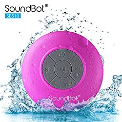 SoundBot® SB510 HD Water Resistant Bluetooth 3.0 Shower Speaker, Handsfree Portable Speakerphone with Built-in Mic, 6hrs of playtime, Control Buttons and Dedicated Suction Cup for Showers, Bathroom, Pool, Boat, Car, Beach, & Outdoor Use, Pink