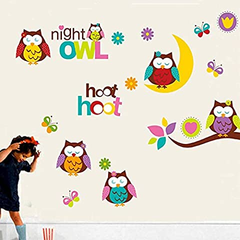 sypure (TM) Cartoon Owls Stickers muraux pour enfants Chambre Art