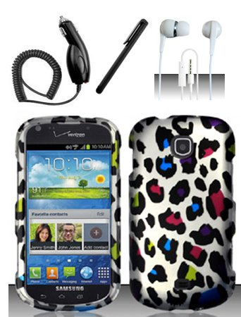 4 Items Combo For Samsung Galaxy Stellar 4G i200 (Verizon) Colorful Leopard 2D Design Hard Case Snap On Protector Cover + Car Charger + Free Stylus Pen + Free 3.5mm Stereo Earphone Headsets