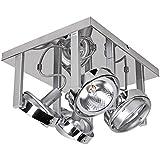 Wohnling 4-flammige Design Deckenleuchte, aus Chrom inkl. Halogen Leuchtmittel, Dimmbare Deckenlampe drehbar Diele Flur Büro, Spotsystem, Wohnzimmer Schlafzimmer, Kinderzimmer