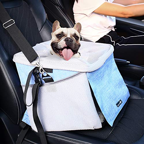 Pecute Hunde Autositz für Kleine Mittlere Hunde,Sitzerhöhung Für Hunde und Katzen, Rucksack Fahrradtasche Autotasche Für Hunde mit Wasserdicht Extrem Langlebig & Einfach zu Installieren