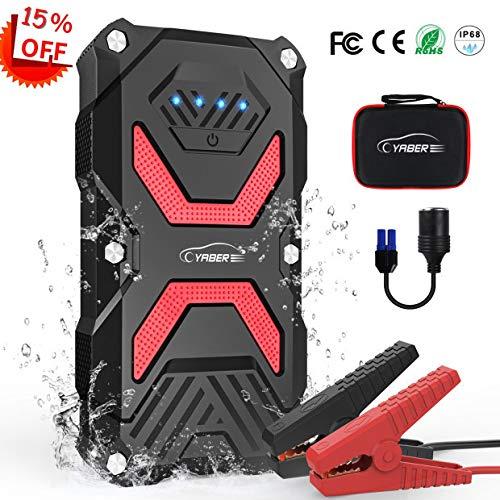Auto Starthilfe, YABER 1000A Spitzenstrom Starthilfe Powerbank 13800mAh mit LED Taschenlampe,QC3.0 Ausgang, Typ C Anschluss
