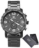 JSDDE Herren-Armbanduhr XL Uhren Herren Edelstahl-Band Kalenderuhr Traveler unecht Chronograph Analog Quarzuhr,Schwarz